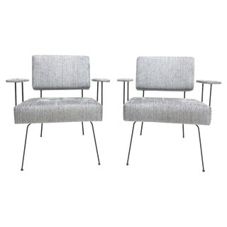 Mid-Century Iron Frame Lounge Chairs - A Pair
