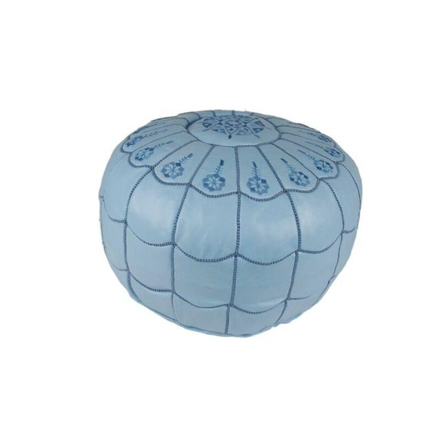 Image of Light Blue Moroccan Leather Pouf