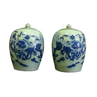 Chinese Graphic Celadon Green & Blue Porcelain Jars- A Pair