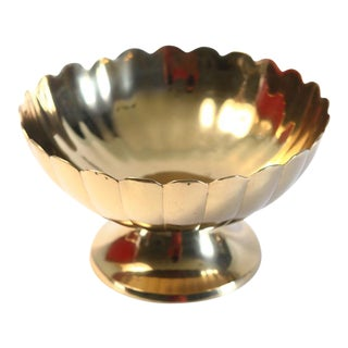 Scalloped & Footed Brass Bowl