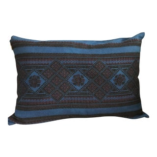 Ukrainian Hand-Embroidered Indigo Pillow