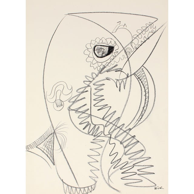 Abstract Graphite Drawing, 20th Century - Image 1 of 2