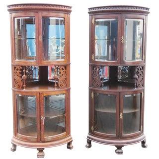 Companion Pair Rare Oak Carved Corner Cabinets