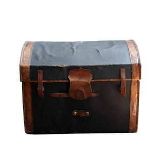 Antique Traveling Leather Trunk