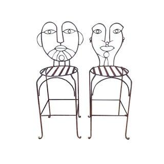 John Risley Wrought Iron Bar Stools - A Pair