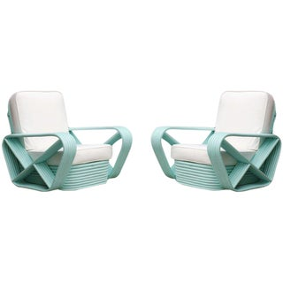 Restored Teal Square Pretzel Stacked Rattan Armchairs in Style of Paul Frankl