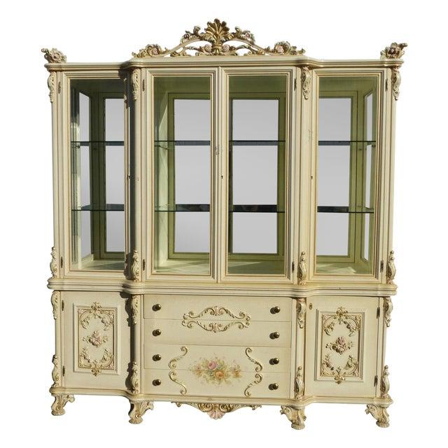 Vintage Off White Ornate Venetian China Cabinet - Image 1 of 11