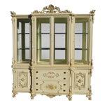 Image of Vintage Off White Ornate Venetian China Cabinet