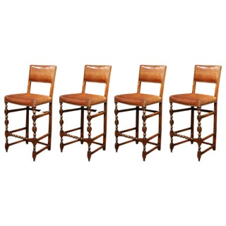 19th Century French Carved Barstools with Back & Original Leather - Set of 4