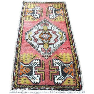 "Pink Vintage Turkish Rug - 1'8"" x 3'2"""