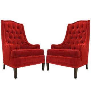 Pair of Tufted Red Velvet Hollywood Regency Chairs
