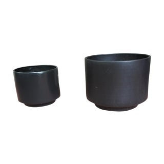 Gainey Style Graphite Gray Planters - A Pair