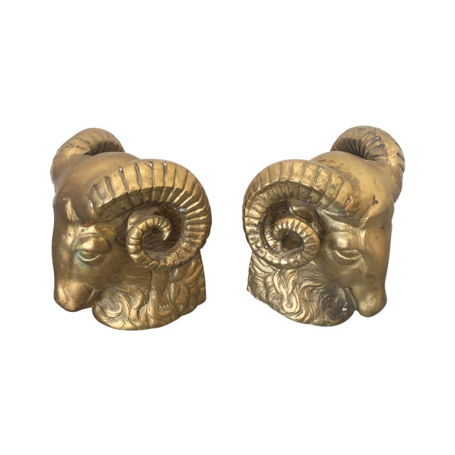 Large Brass Ram Bookends - Pair - Image 1 of 5