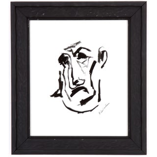 Phillip Callahan Vintage Portrait Ink Painting