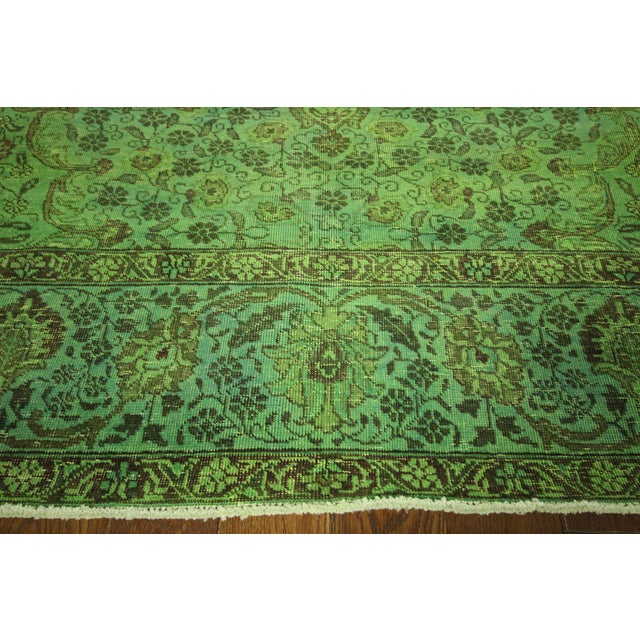 """Lime Green Overdyed Tabriz Area Rug - 9'5"""" x 12' - Image 5 of 10"""