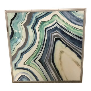 Blue & Green Watercolor Agate Print