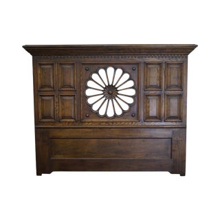 Quality Tudor Style Solid Oak Daisy Flower Carved Queen/King Size Headboard