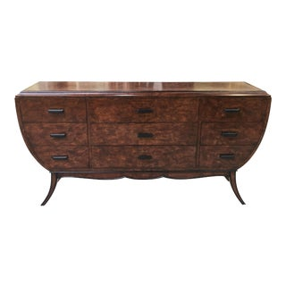 A shapely and good quality Italian 1960's madrone burlwood 9-drawer chest