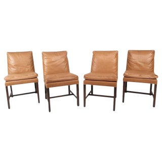 Mid-Century Modern Faux Ostrich Covered Dining Chairs