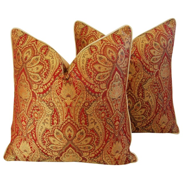 Custom French Jacquard & Velvet Pillows - A Pair - Image 1 of 10