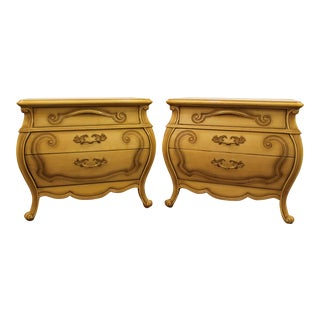 French Country Carved Nightstands - A Pair