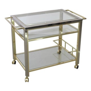 Bar Cart in Chrome and Brass attributed to Willy Rizzo