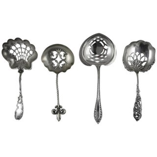 Victorian Sterling Silver Pierced Bon-Bon Servers - Set of 4