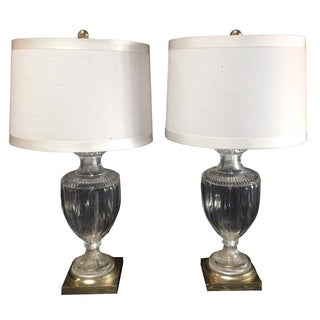 Crystal Brass Urn Table Lamps - Pair