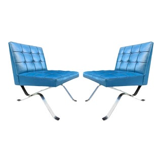 Pair of Robert Haussmann Chrome Flat Bar Lounge Chairs