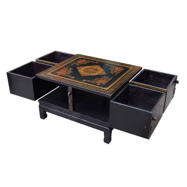 Chinese Floral Swing Drawer Coffee Table Chairish