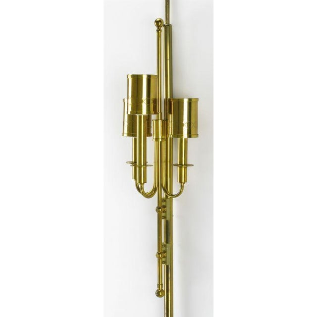 Three Light Pole Lamp With Polished & Pierced Brass Shades - Image 4 of 7