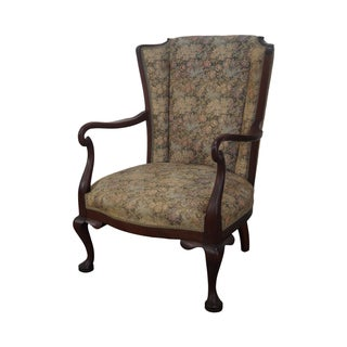 Antique Mahogany Frame High Back Library Armchair