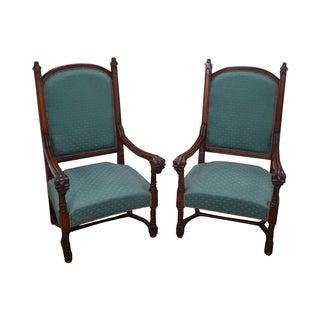 Antique 19th C. Gothic Oak Throne Arm Chairs - 2