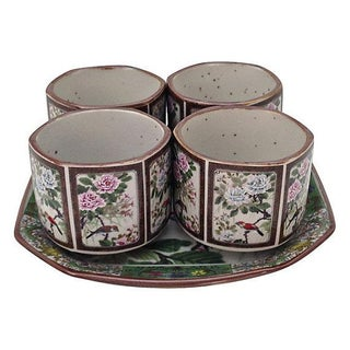 Asian Cups & Serving Plate - 5 Piece