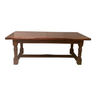 Antique 19th Century Oak Refectory Table With Live Edge and Baluster Legs or Gun Barrel Legs