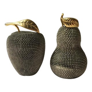 Modern Glam Silver & Gold Studded Fruit Candle Sticks - A Pair