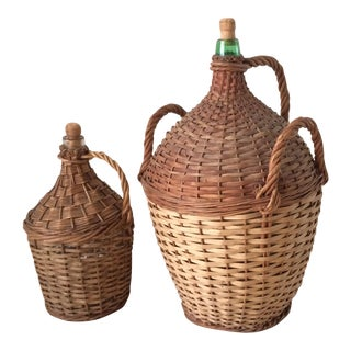 Wicker Wrapped Demijohns - A Pair