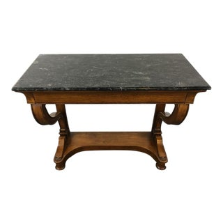 Carved Marble Top Wood Console Table