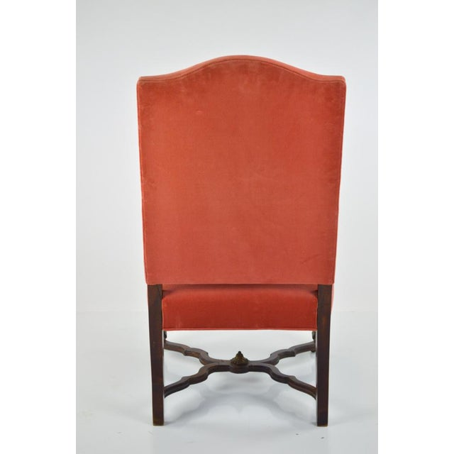 French Louis XIII-Style Velvet Armchair in Salmon - Image 3 of 7