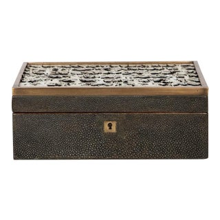 Genuine Shagreen Jewelry Box with Exotic Feather Accents