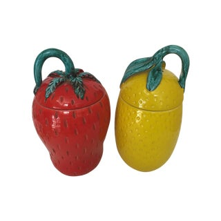 Italian Covered Fruit-Shaped Jars - A Pair