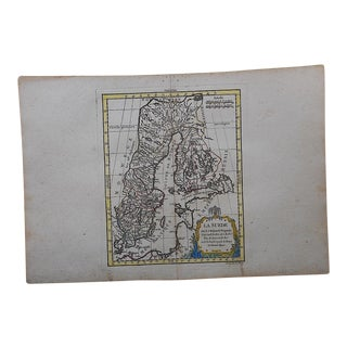 Antique 18th C. Map-Sweden-Hand Colored Engraving