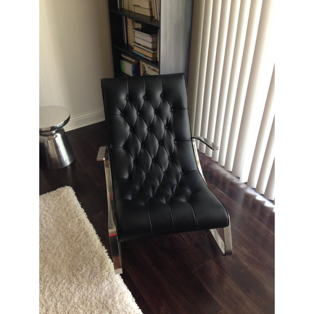 Modern Leather Tufted Rocker - Image 3 of 5