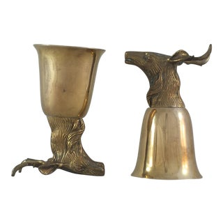 Stag Head Brass Stirrup Goblets - A Pair