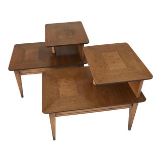 1958 Lane Altavista Two-Tier Burlwood Side Tables - A Pair