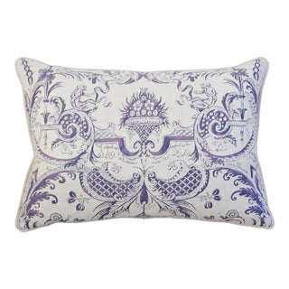 Lavender & White Italian Fortuny Mazzarino & Velvet Pillow
