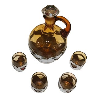 Vintage Farber Bros Amber Glass Decanter & Shot Glasses Set