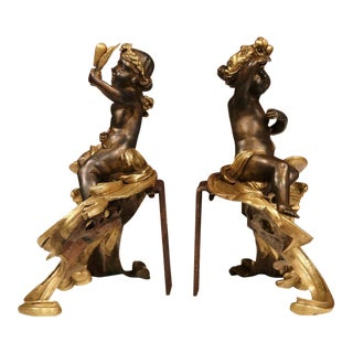 19th Century French Patinated Bronze Cherub Chenets - A Pair