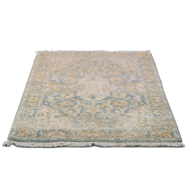 "Image of Sarreid LTD Blue & Gold Oriental Runner - 3'9"" x 5'11"""