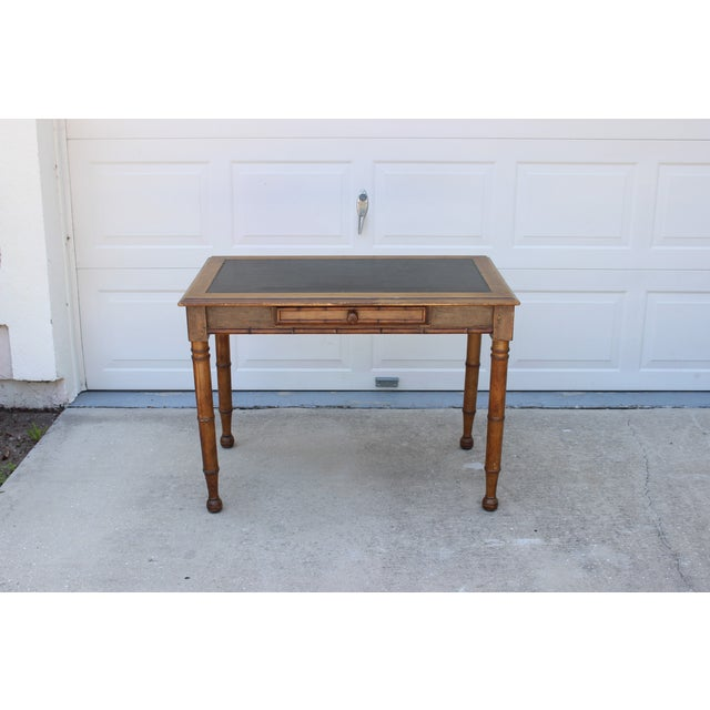 Faux Bamboo Desk with Leather Inlay - Image 3 of 11